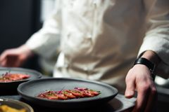 Restauracyjna szefa kuchni kucharza pozycja obok popielatego talerza z tuńczykiem paskował filet i greenery fotografia stock