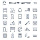 Restauracyjne fachowe wyposażenie linii ikony Kuchenni narzędzia, melanżer, blender, fryer, karmowy procesor, chłodziarka royalty ilustracja