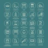 Restauracyjne fachowe wyposażenie linii ikony Kuchenni narzędzia, melanżer, blender, fryer, karmowy procesor, chłodziarka Fotografia Royalty Free
