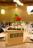 Restauracyjne rezerwacje Fotografia Royalty Free