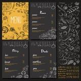 Restauracyjnego Karmowego menu rocznika ustalony projekt z Chalkboard ilustracji