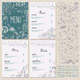 Restauracyjnego Karmowego menu rocznika ustalony projekt z Chalkboard ilustracja wektor