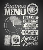 Restauracyjnego menu typograficzny projekt na chalkboard Rocznika biznesowego lunchu plakat również zwrócić corel ilustracji wekt Obraz Stock