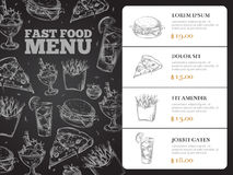 Restauracyjnej broszurki menu wektorowy projekt z pociągany ręcznie fastem food Fotografia Stock