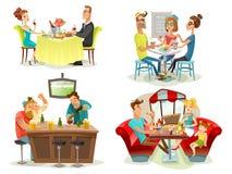 Restauracyjni kawiarnia baru ludzie 4 ikony ilustracja wektor