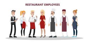 Restauracyjni pracownicy ustawiający ilustracji