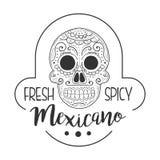 Restauracyjny Świeży I Korzenny Meksykański Karmowy menu Promo Podpisuje Wewnątrz nakreślenie styl Z Scull, projekt etykietka Cza ilustracja wektor