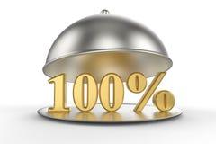 Restauracyjny cloche z złotymi 100 procentami z znaka Zdjęcia Stock