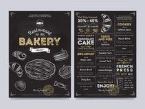 Restauracyjny cukierniany menu szablonu projekt, wektor Fotografia Royalty Free