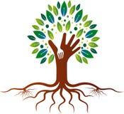 Restauracyjny drzewny logo royalty ilustracja
