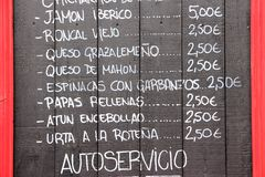 Hiszpański kuchnia menu Obraz Stock