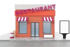 Restauracyjny sklep z kopii przestrzeni deską odizolowywającą na białym tle Nowożytni sklepowi budynki, sklep fasady powierzchown ilustracja wektor