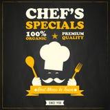 Restauracyjny szefów kuchni dodatków specjalnych chalkboard projekt ilustracji