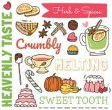 Restauracyjny tło w doodle stylu, różnorodnym jedzeniu i napoju wzorze, ilustracja wektor