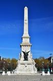 Restauradores Square and Statue, Lisbon, Portugal Stock Photo