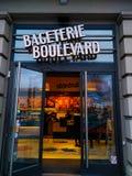 Restaurang för Bageterie boulevardsnabbmat arkivfoto