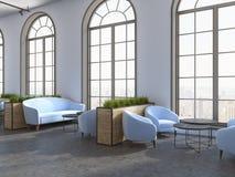Restaurang för Eco stilhotell, blåa fåtöljsoffor stock illustrationer