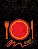 restaurang för meny för hand för begreppsdesign tecknad Royaltyfri Foto