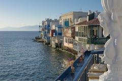 Restaurang i Mykonos, Grekland Arkivfoton