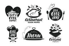 Restaurang meny, matetikettuppsättning Matlagning, kök, kokkonstsymbol eller logo Bokstäver kalligrafivektorillustration royaltyfri illustrationer