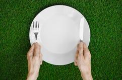Restaurang och nya frukt och grönsaker på naturtemat: den mänskliga handen visar plattan på en bakgrund av överkant V för grönt g Arkivbild