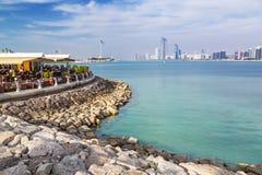 Restaurang på Persiska viken i Abu Dhabi Arkivfoton