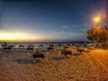 Restaurang på stranden Fotografering för Bildbyråer