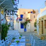 Restaurang på Folegandros Royaltyfri Fotografi