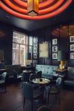 Restaurang-stång i det Amsterdam hotellet (Le Europa) fotografering för bildbyråer