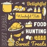 Restaurangbakgrund med olikt mat- och drinkklotter royaltyfri illustrationer