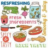 Restaurangbakgrund med olikt mat- och drinkklotter stock illustrationer