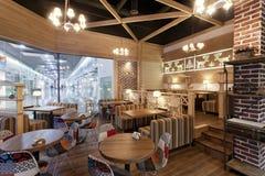 Restaurangcafeinterior Fotografering för Bildbyråer