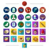 Restaurangen, djur, teknologi och annan rengöringsduksymbol i tecknad film utformar Disk fester, kafé, symboler i uppsättningsaml Fotografering för Bildbyråer
