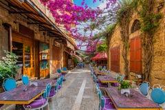 Restauranger gamla Souk Byblos Jbeil Libanon Royaltyfri Fotografi