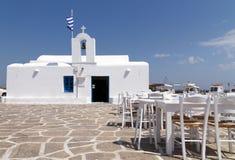 Restaurangkrogar i den grekiska ön Arkivfoton