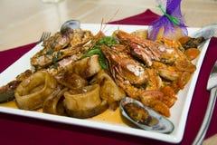 restaurangmaträtt - skaldjur Arkivbild
