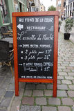 Restaurangmeny i Lille Arkivbilder