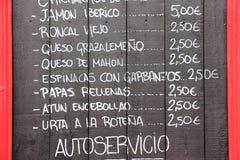 Spansk kokkonstmeny Fotografering för Bildbyråer