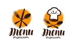 Restaurangmeny, logo eller etikett Matlagning kokkonstbegrepp också vektor för coreldrawillustration royaltyfri illustrationer