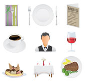 Restaurangsymbolsuppsättning Arkivfoto