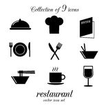 Restaurangsymbolsuppsättning Fotografering för Bildbyråer