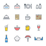 Restaurangsymbolsuppsättning Arkivfoton