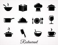 Restaurangsymbolsuppsättningen Arkivfoton