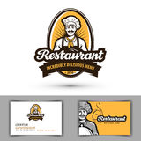 Restaurangvektorlogo kafé matställe, bistrosymbol stock illustrationer