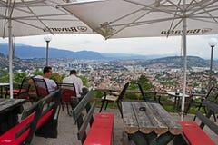 Restaurant über Sarajevo Stockfotografie