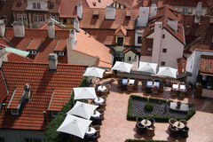 Restaurant. Adorable restaurant over roofs of buildings stock photo