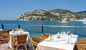 Restaurant. With a panoramic bay view Royalty Free Stock Images