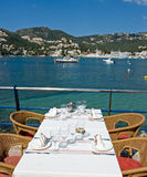 Restaurant. Table with a beautiful sea view Stock Image