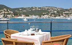 Restaurant. With a panoramic bay view Royalty Free Stock Image