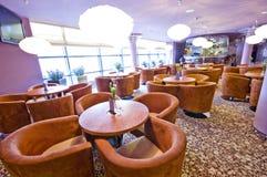 Restaurant. Interior of elegant restaurant with comfortable armchairs Royalty Free Stock Photo